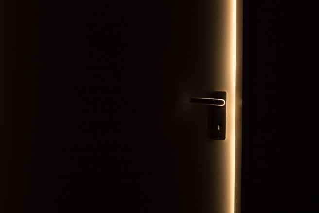 steel door handle on door