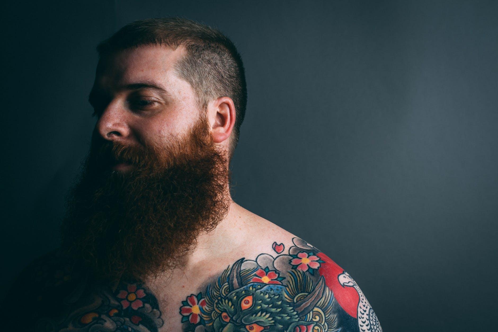 man with body tattoo