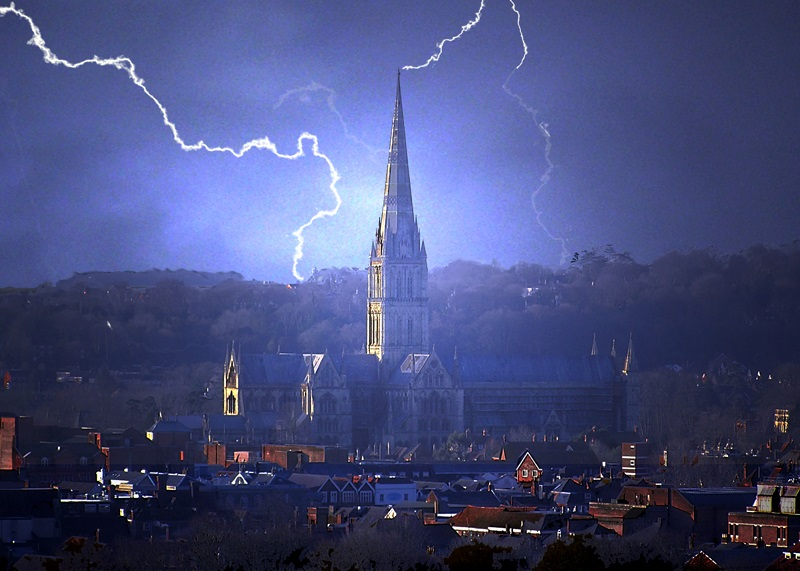 salisbury cathedral withstands the wrath of god